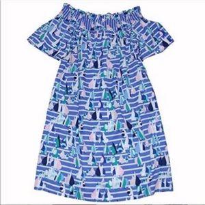 🐳 Vineyard Vines Harbor Scene Off-Shoulder Dress